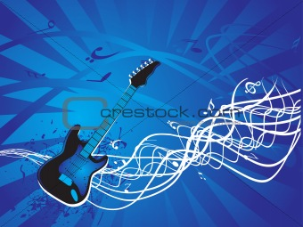 abstract grunge musical instrument on blue background