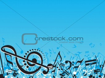 Abstract musical note design elements on blue