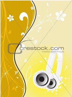 abstract vector floral musical background