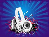 abstract vector grunge background with headphone
