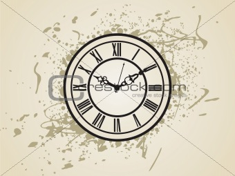 An antique clock face on grunge background