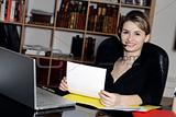 businesswoman phone desk office