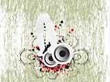 grunge vector background with headphone