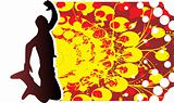 jumping man on grunge vector background