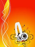 Musical headphones on flame background