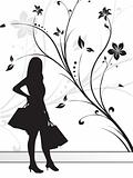silhouette of girl on floral background