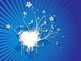 vector floral grunge blue background