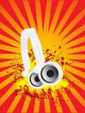 vector headphone on grunge flame background
