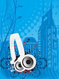 vector illustration of headphone, buildings and floral