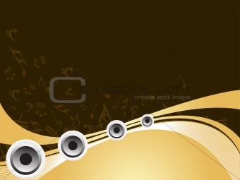 vector loudspeakers with music note background