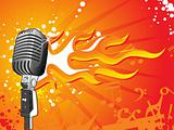 vector microphone on flame background
