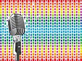 vector microphone on pattern background