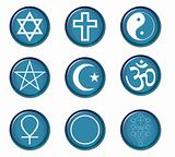 A collection of blue buttons with religious symbols