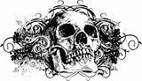 Vector skull floral grunge illustration