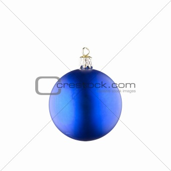 Blue Christmas Ball against White Background