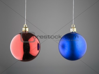 Christmas Balls against Grey Background