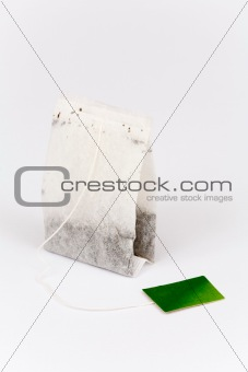 Tea bag on white