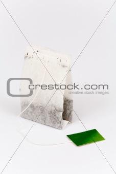 Tea bag on white
