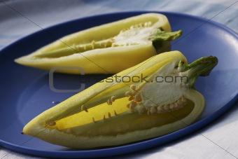 sliced pepper on a plate