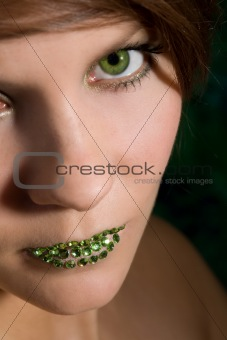 Beautiful woman with green lips