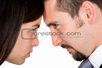 angry couple facing each other