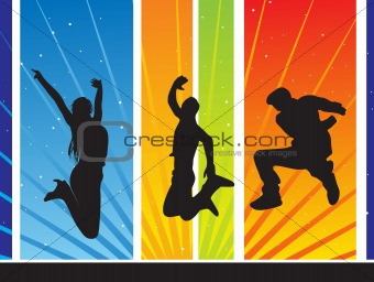 abstract background with jumping silhouettes