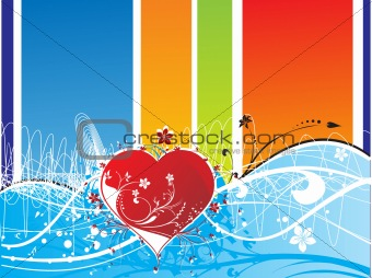 abstract floral background with heart