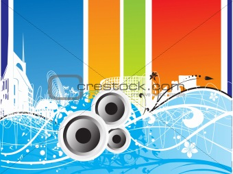 abstract musical background with speakers