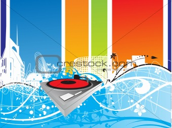 abstract musical background with turntable