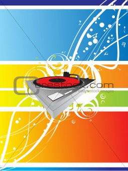 abstract musical background with vector turntable