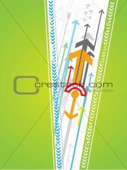 Abstract reflected arrows green background