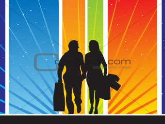 abstract vector background with silhouettes