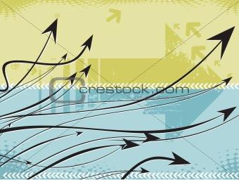 Arrow background- grunge vector illustration