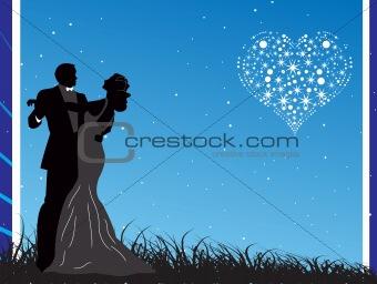 beautiful couple at night background