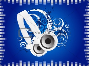 blue music background with headphone