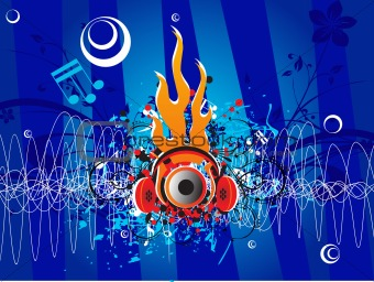 blue music background with stereo headphone