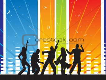 dancing silhouettes on musical background