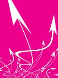 flying vector arrows on pink background