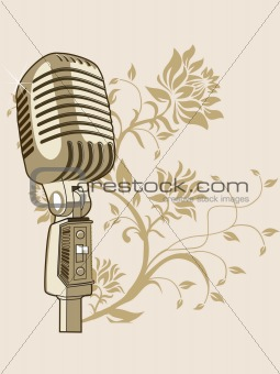 golden microphone on abstract background