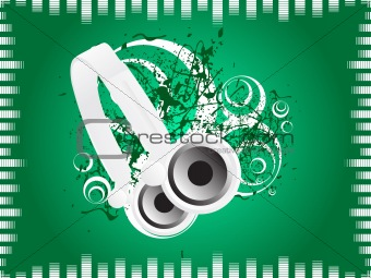 green music background with headphone