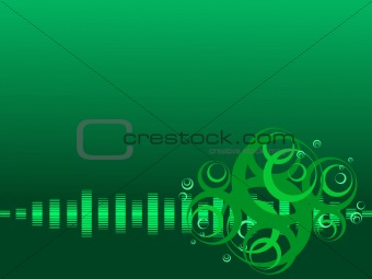 green vector background with musical beats