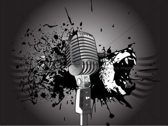 microphone on abstract grunge background