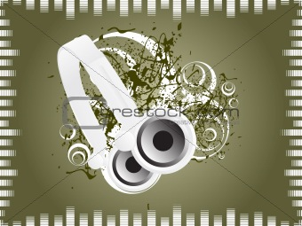 olive music background with headphone