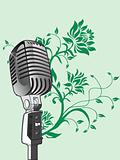 vector microphone on green floral background