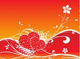 vector red heart floral background