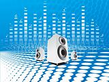vector speakers on blue musical background