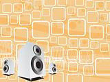 vector speakers on music background