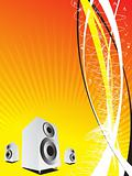 vector speakers on orange musical background