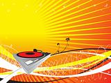 vector turntable on abstract musical background