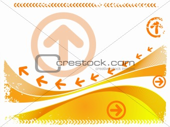 arrows sign on grunge wave pattern